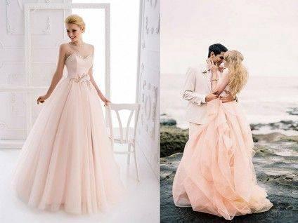 Свадебные платья нежно розового цвета