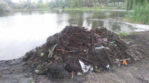 Бите скло, пляшки та банки: смілянські активісти розпочали прибирання на Графському озері (фото)
