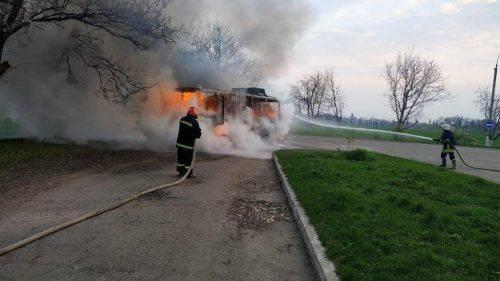 На Черкащині загорівся автобус (фото, відео)