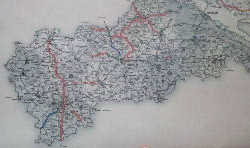 Частина карти Черкаської області, на якій позначені ділянки ремонту доріг у 2019-му році