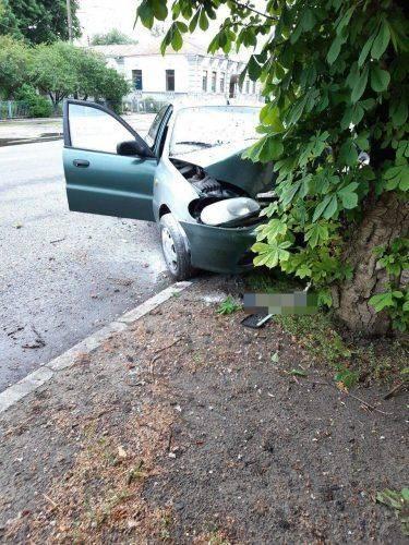 У Черкасах водій автомобіля в'їхав у електроопору та дерево (фото)
