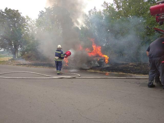 На Черкащині вщент згорів автомобіль (фото)