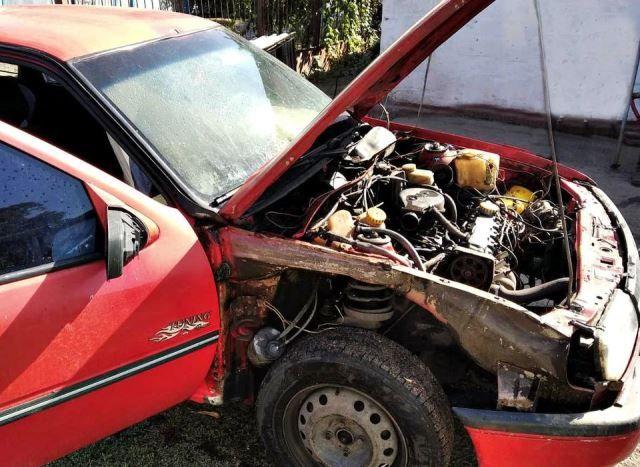 На Черкащині унаслідок необережності водія загорівся автомобіль