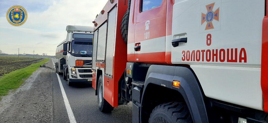 На Черкащині ледь не перекинулася вантажівка зі зрідженим газом