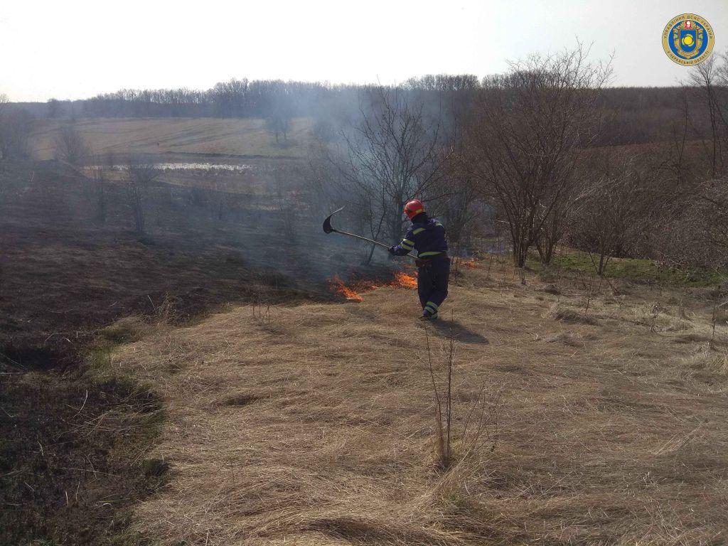 Рятувальники Черкащини продовжують боротися із пожежами сухої трави та очерету (ВІДЕО)