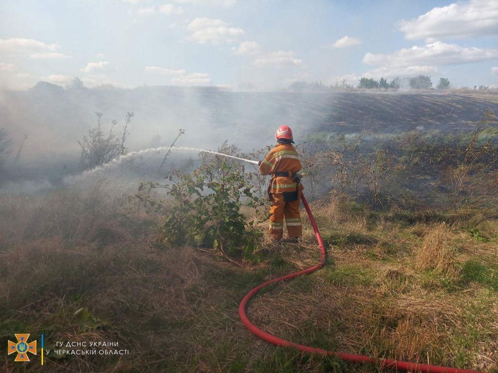 За добу на Черкащині рятувальники двічі гасили пожежі сухої трави